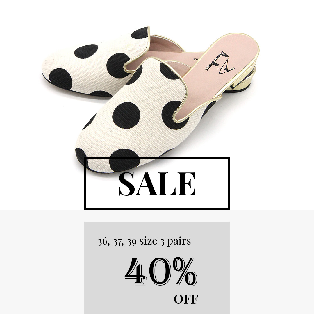 [SALE] italian canvas dot slippers
